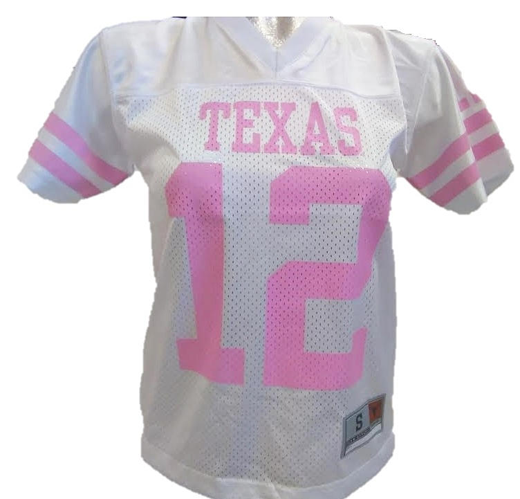 LONGHORNS: JERSEY WHITE W/PINK LETTERING- GIRLS LIMITED QUANTITIES AVAILABLE