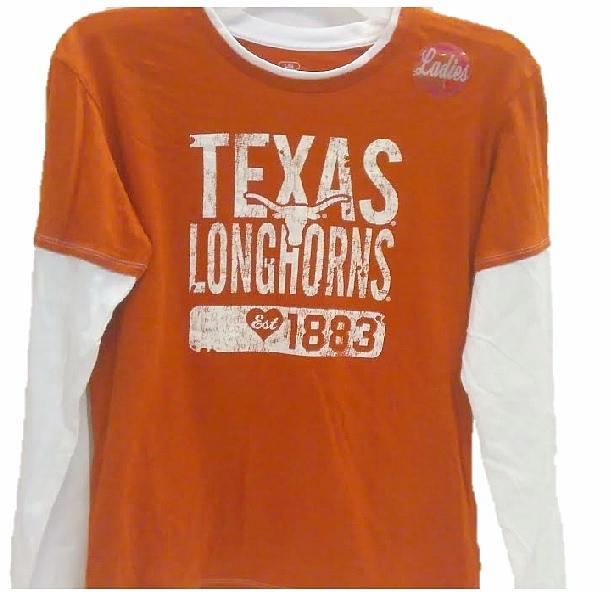 LONGHORNS: ORANGE/WHITE L/S T-SHIRT EST 1883- LADIES LIMITED QUANTITIES AVAILABLE