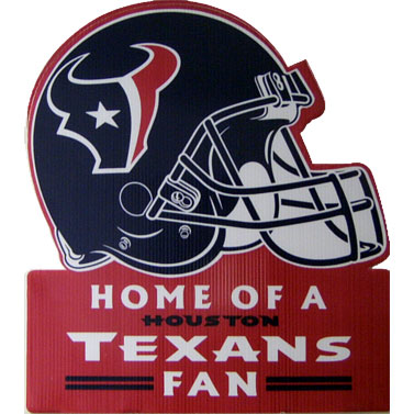 TEXANS: YARD SIGN- WATERPROOF & INCLUDES METAL LAWN STAKES