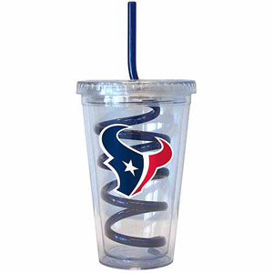 TEXANS: PLASTIC TUMBLER WITH SWIRLY STRAW LIMITED QUANTATIES AVAILABLE