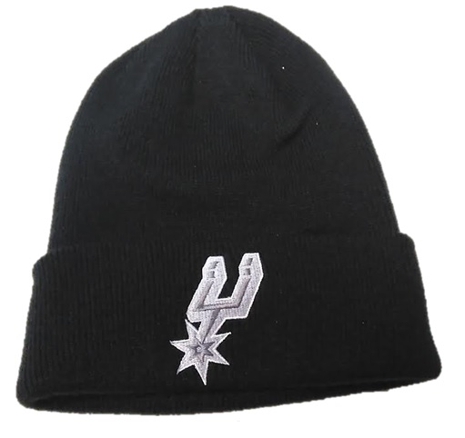 SPURS: BEANIE- BLK W/SILVER LOGO ON FRONT- CUFFED STYLE KZP79- ONE SIZE FITS MOST