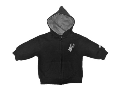 SPURS: JACKET WITH HOOD-SPURS LOGO ON FRONT MONOGRAMMED. ADIDAS ON SLEEVE- INFANT- SIZES 12M, 18M, & 24M