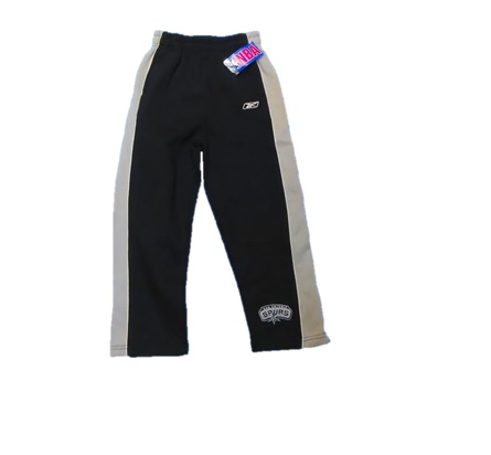 SPURS: WARM UP PANTS-REEBOK BLK & gREY WITH sAN aNTONIIO SPURS MONOGRAMMED- YOUTH UNISEX- SIZES S- 4/, M- 5/6, & L- 7