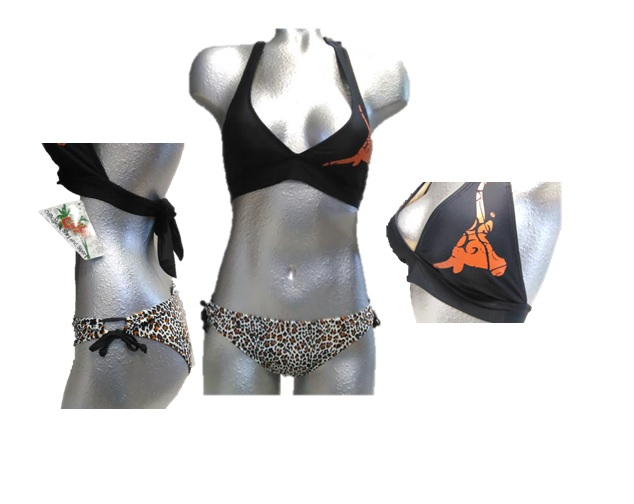 LONGHORNS: 2 PC SWIMSUIT: BLACK TOP WITH UT LOGO ON LEFT CHEST BOTTOMS LEOPARD PRINT- LADIES SIZES- SMALL ONLY- ASSORTED AND OR BY STYLE ( 3 STYLES BLK/LEOPARD, ORANGE, & WHITE)- LIMITED QUANTITIES AVAILABLE