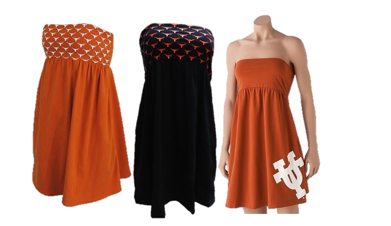 LONGHORNS: SWIM COVER-UP: STRAPLESS DRESSES 3 STYLES- ORANGE POLKA DOT LOGO, BLK POLKA DOT LOGO, & SOLID ORANGE WITH ut ON LEFT BOTTOM SIDE-ASSORTED OR BY STYLE-LADIES SIZES S, M, L, XL-LIMITED QUANTITIES AVAILABLE