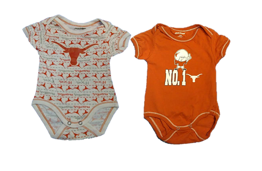 LONGHORNS: ONESIE 2 STYLES ASSORTED- WHITE & oRANGE- SIZES-3-6M, 6-9M, 12M, 18M, 24M- LIMITED QUANTITIES AVAILABLE