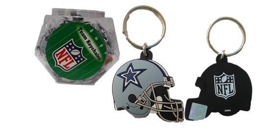 COWBOYS: HELMET RUBBER KEY CHAIN IN FISHBOWL DISPLAY- 60 PER CALL FOR AVAILABLITY