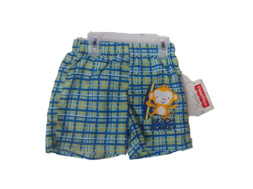 INFANT: FISHER-PRICE BEACH MONKEY SWIM SHORTS-SIZES: 12-18-24 MONTHS