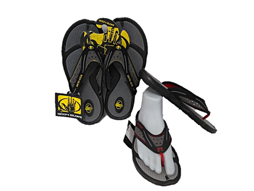 FLIP FLOP : MENS : BODY GLOVE : STYLE : KONA : COLORS : GREY/YELLOW & GREY/RED : SIZES : 8-13 : CASE : 12 PER MUSICAL RUN