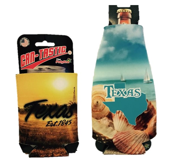 KOOZIE- TEXAS EST. 1845 & TEXAS BEACH SCENE : BOTH IN BOTTLE SUIT AND CAN & MADE IN USA