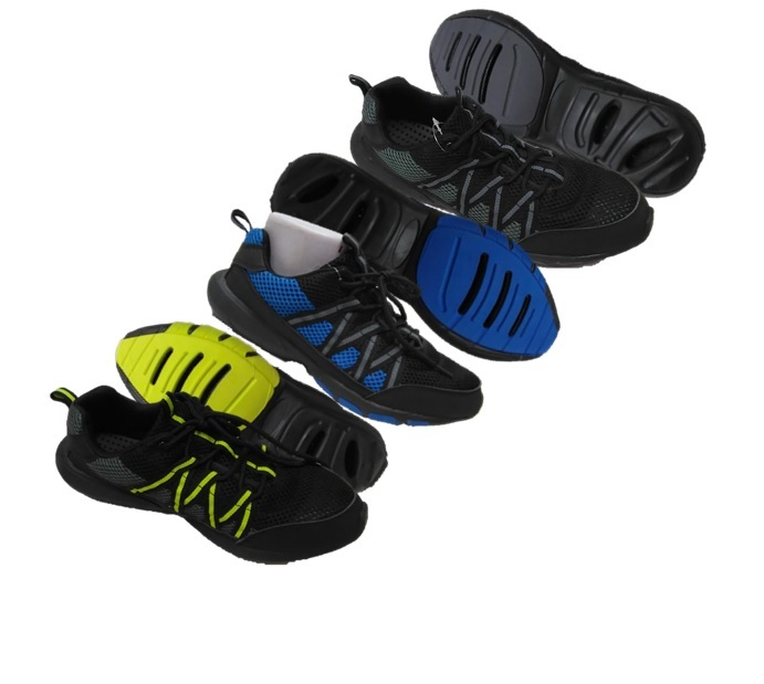 DRAINAGE: MEN'S : COLOR : BLACK/NEON GREEN, BLACK/BRILLIANT BLUE, BLACK/DARK SHADOW : SIZES : 7-13 : MUSICAL RUN IN ALL COLORS OR JUST BRILLIANT BLUE OR AVAILABLE BY SIZE : CASE : 24 PER : 7/2, 8/2. 9/4, 10/6, 11/4, 12/4, 13/2