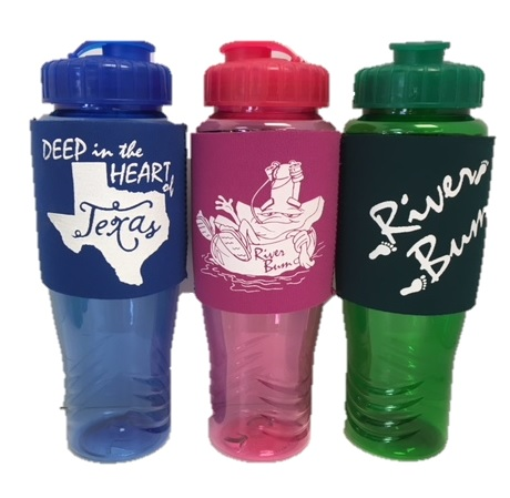 CUSTOM ECO WATER BOTTLES, 28 OZ (DEEP IN THE HEART OF TEXAS, RIVER BUM)