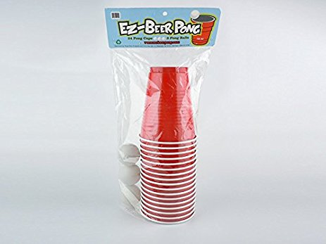 EZ-BEER PONG, 20 CUPS AND 3 PONG BALLS.