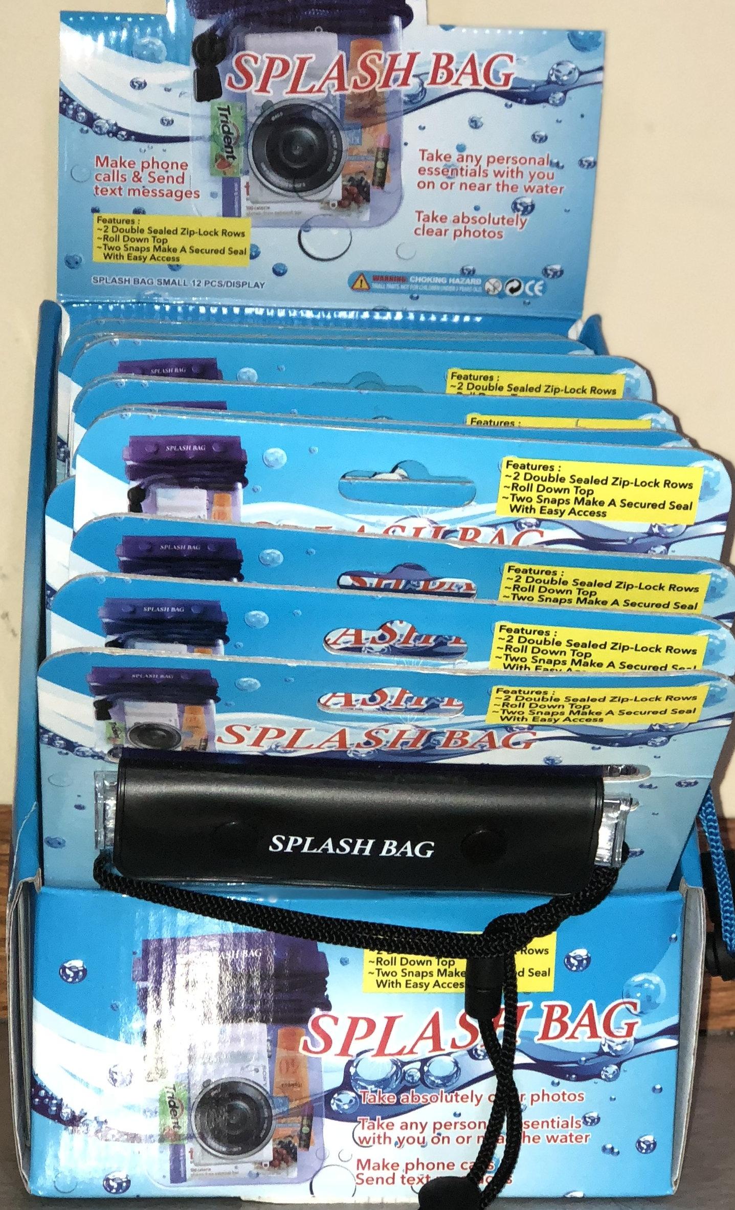 small splash bags, 18 per display