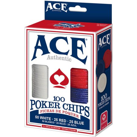 ACE AUTHENTIC POKER CHIPS, 100 CHIPS.