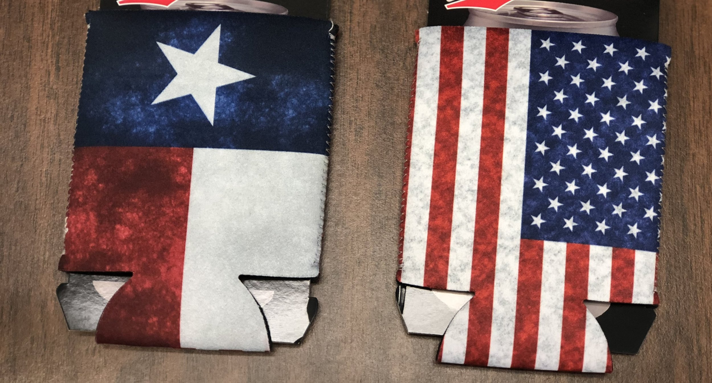 TEXAS/AMERICAN FLAG POCKET KOOZIE, 576 PIECES