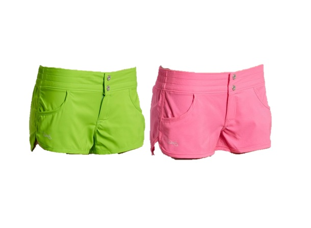 Womens Ray swim shorts asst colors purple, pink, black and green