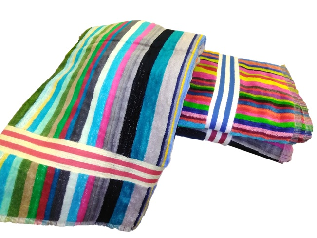 Cabana striped Velor 30x60 Towels 36 per