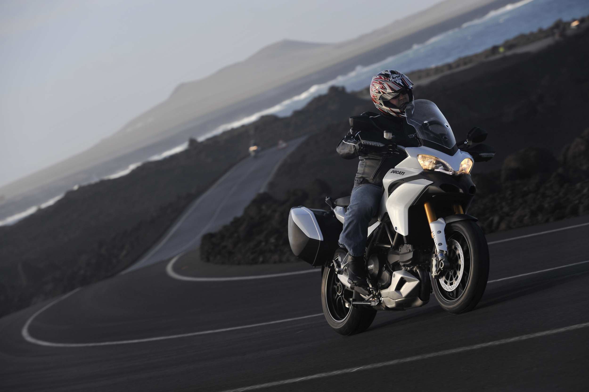 Testing the Ducati Multistrada in Lanzarote, 2010. Photo courtesy of Ducati and SuperbikePlanet.