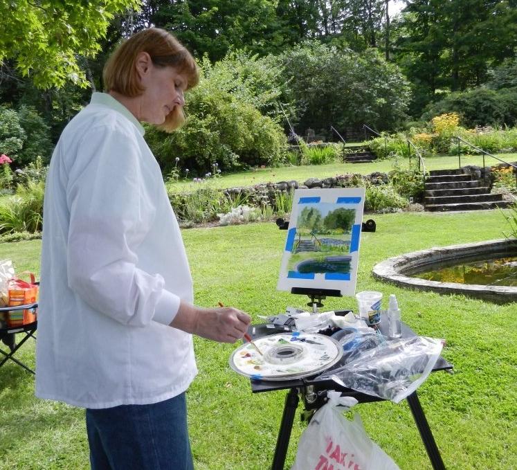 Lynn painting plein air at the Rocks Estate.