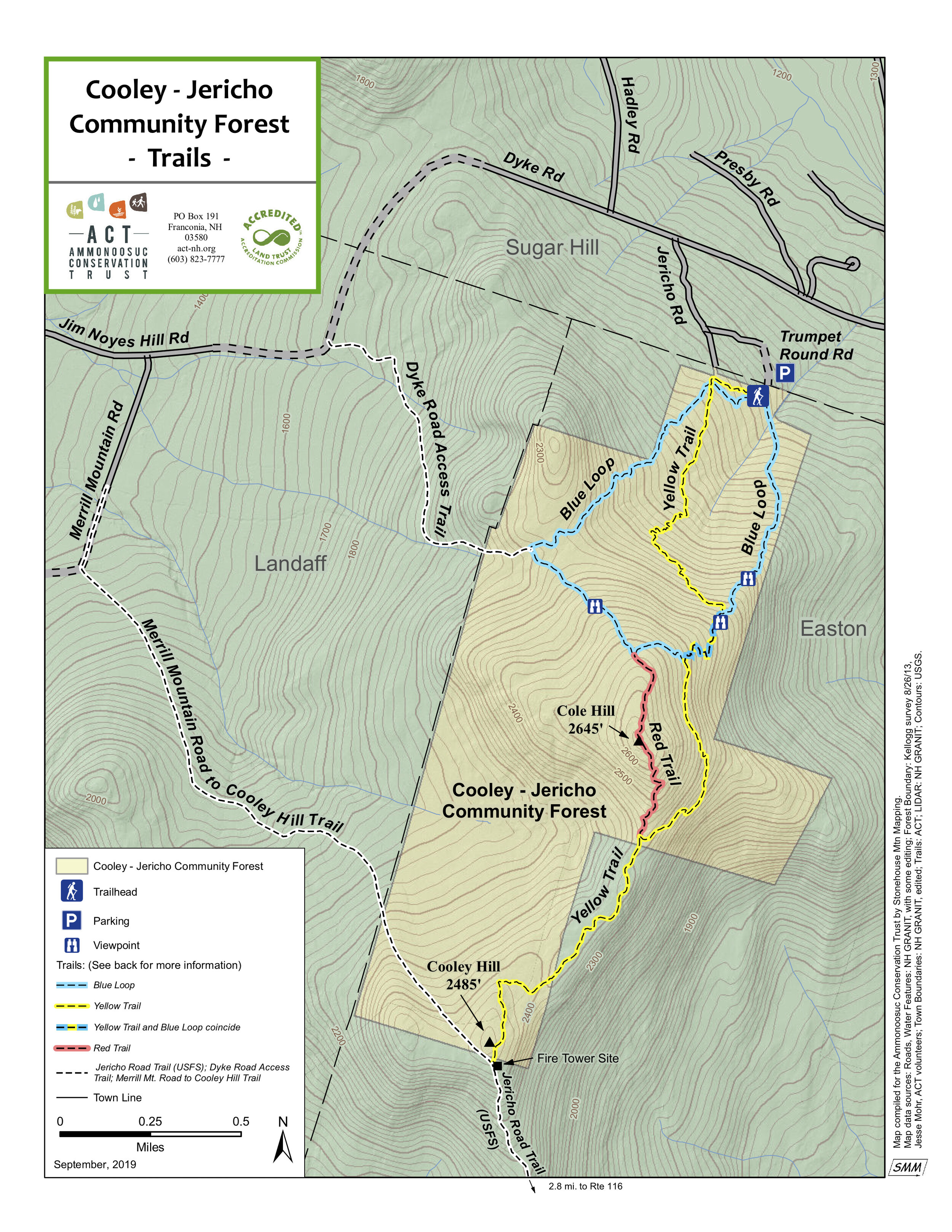 Click to download a PDF of the most up to date CJCF trail map. Please note that the Cole Hill connector trail on the map in green is blazed in red on site.