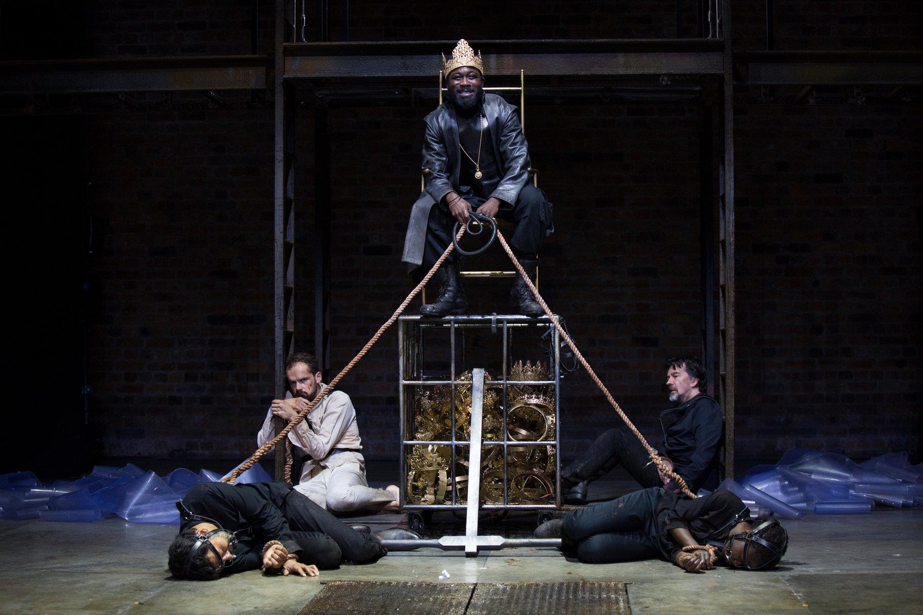 © Ellie Kurttz, RSC (Sagar I M Arya as King of Trebizon, Ralph Davis as Orcanes, Jude Owusu as Tamburlaine, James Clyde as King of Jerusalem, and Debbie Korley as King of Syria)