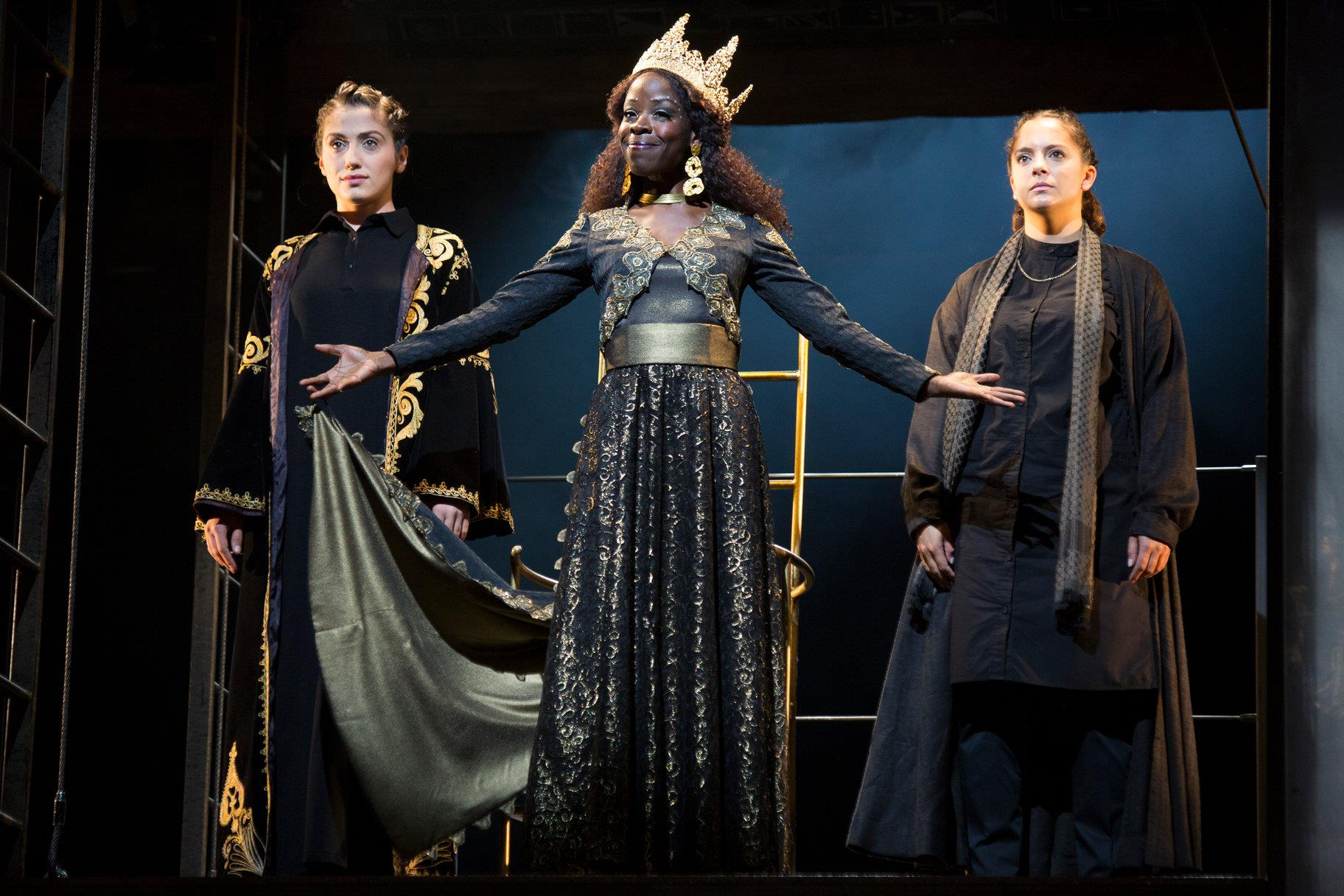 © Ellie Kurttz, RSC (Vivienne Smith as Ebea, Debbie Korley as Zabina, and Shamia Chalabi as the Turkish Messenger)