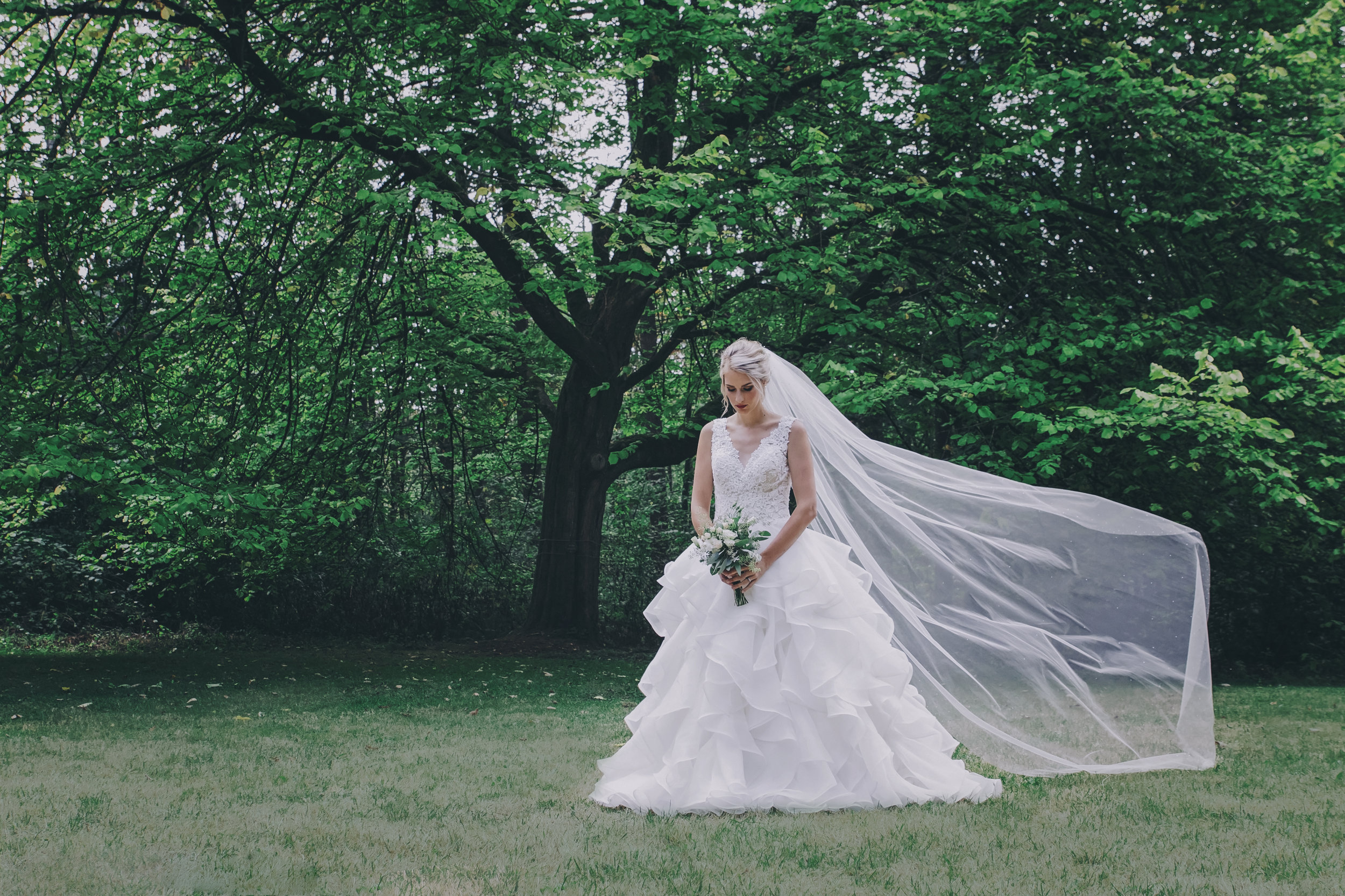#woodland #wedding #whimsical #ballgown #connection #emotional #fairytale #princess #bride #groom #greywedding #etherealwedding #fairytalewedding #cathedralveil #veil #whitebouquet