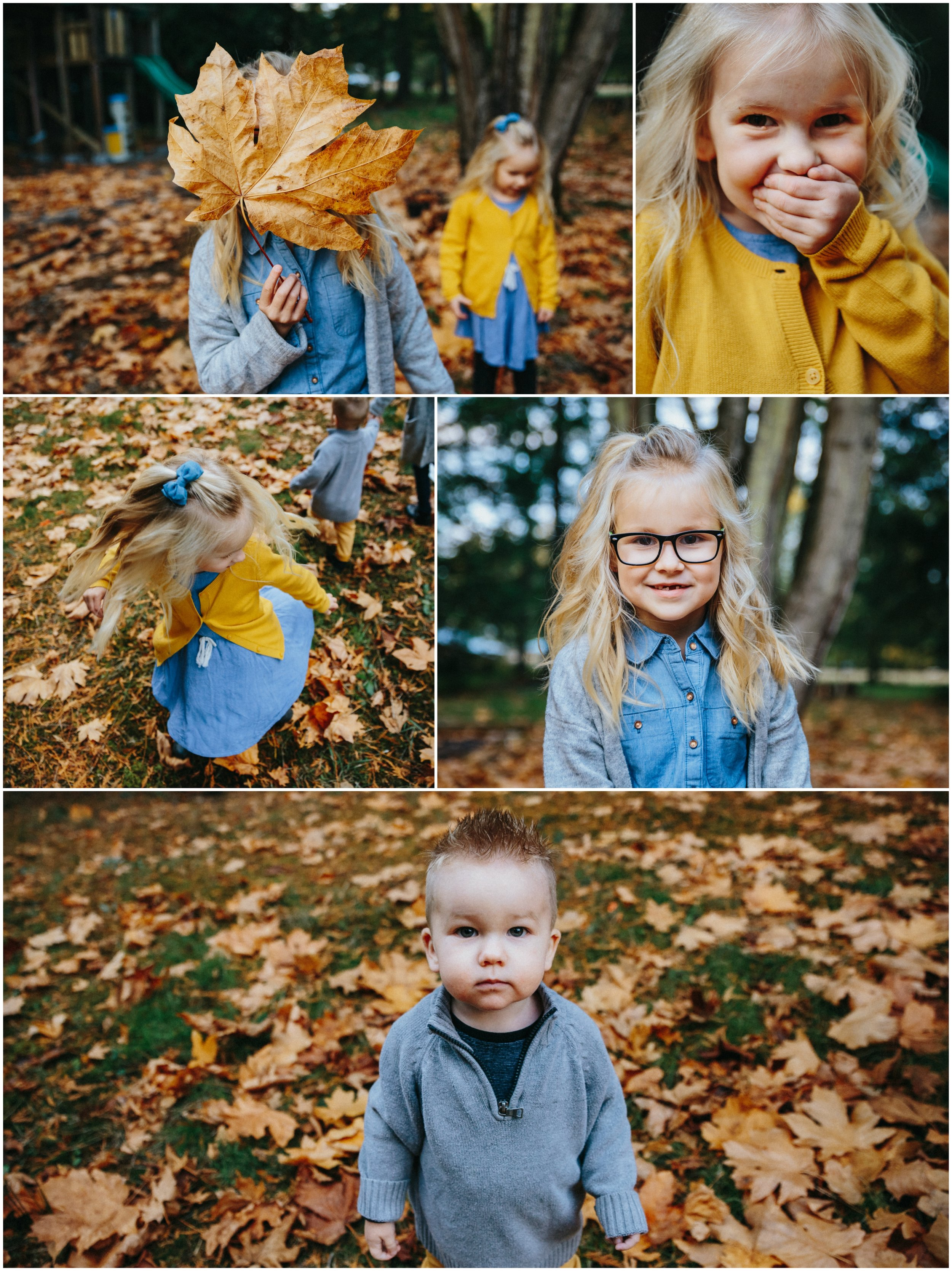 Fall, leaves, twirl Backyard Family Roasting Marshmallows, 4 kids, navy blue, mustard yellow, jean . Real moments, real memories. sticky fingers, documentary lifestyle photography by Mimsical photography, Fraser Valley, British Columbia, Langley, Vancouver.