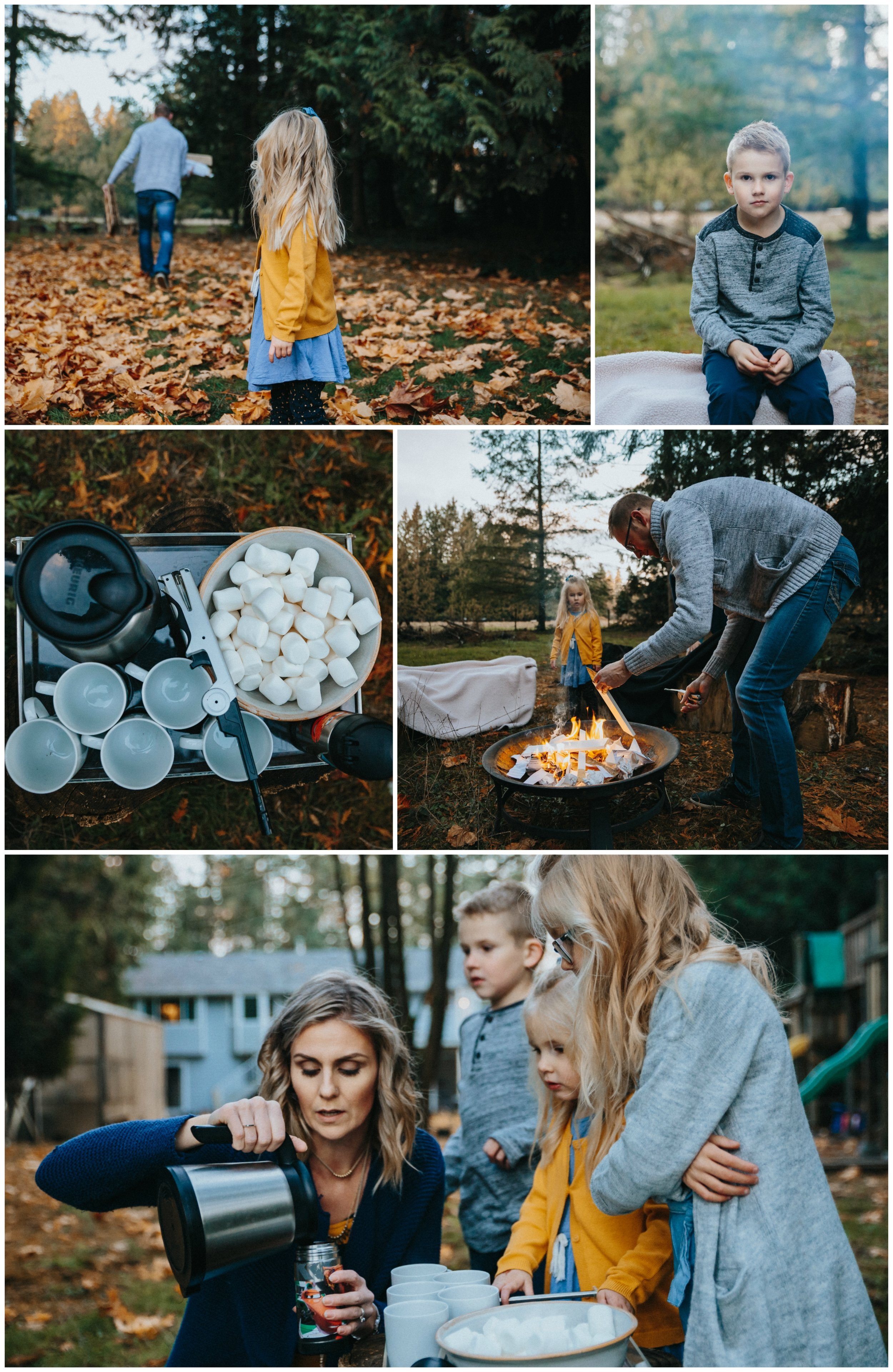 Hot chocolate, marshmallow, building fire Backyard Family Roasting Marshmallows, 4 kids, navy blue, mustard yellow, jean . Real moments, real memories. sticky fingers, documentary lifestyle photography by Mimsical photography, Fraser Valley, British Columbia, Langley, Vancouver.
