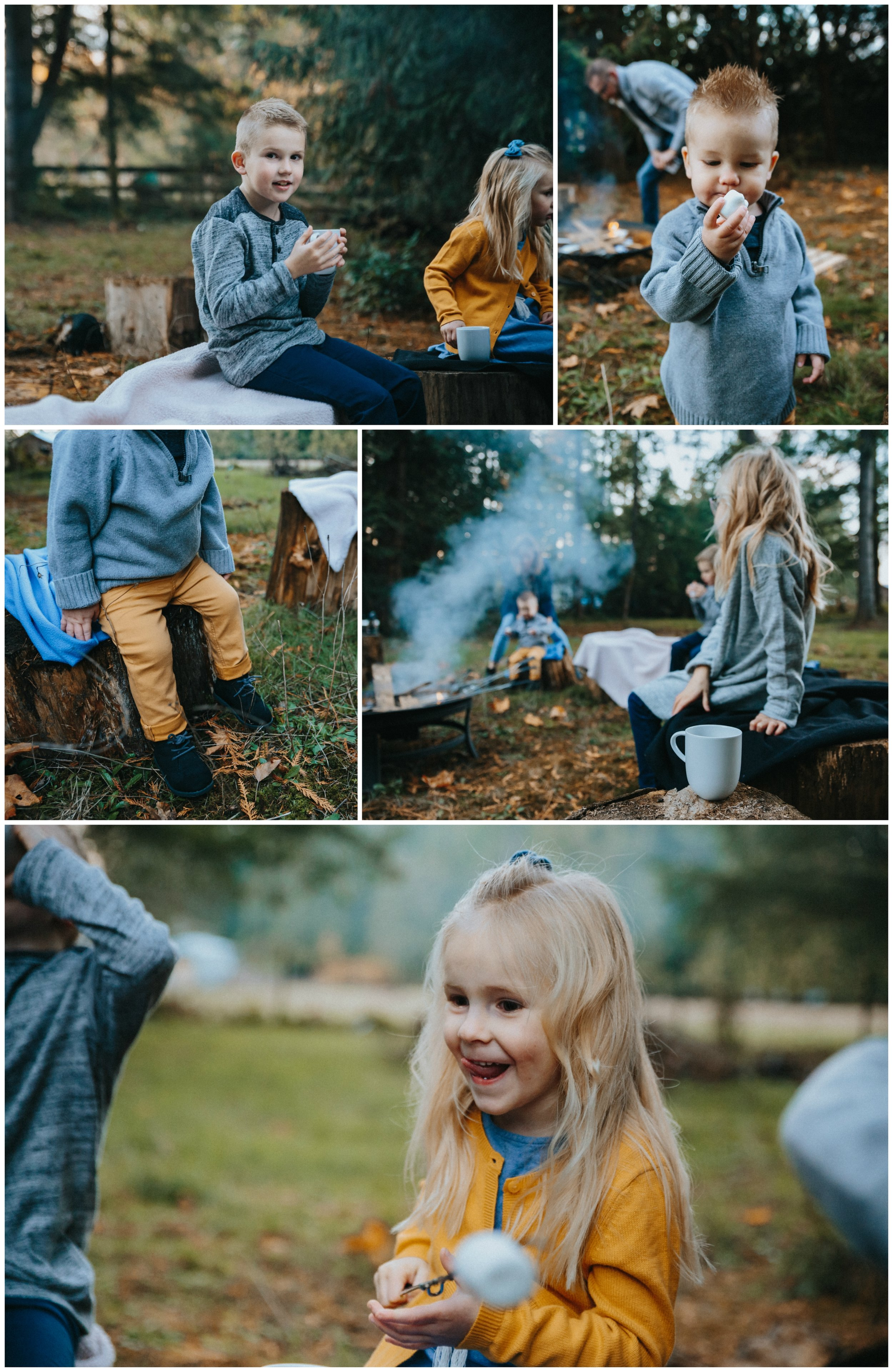 Backyard Family Roasting Marshmallows, 4 kids, navy blue, mustard yellow, jean . Real moments, real memories. sticky fingers, documentary lifestyle photography by Mimsical photography, Fraser Valley, British Columbia, Langley, Vancouver.