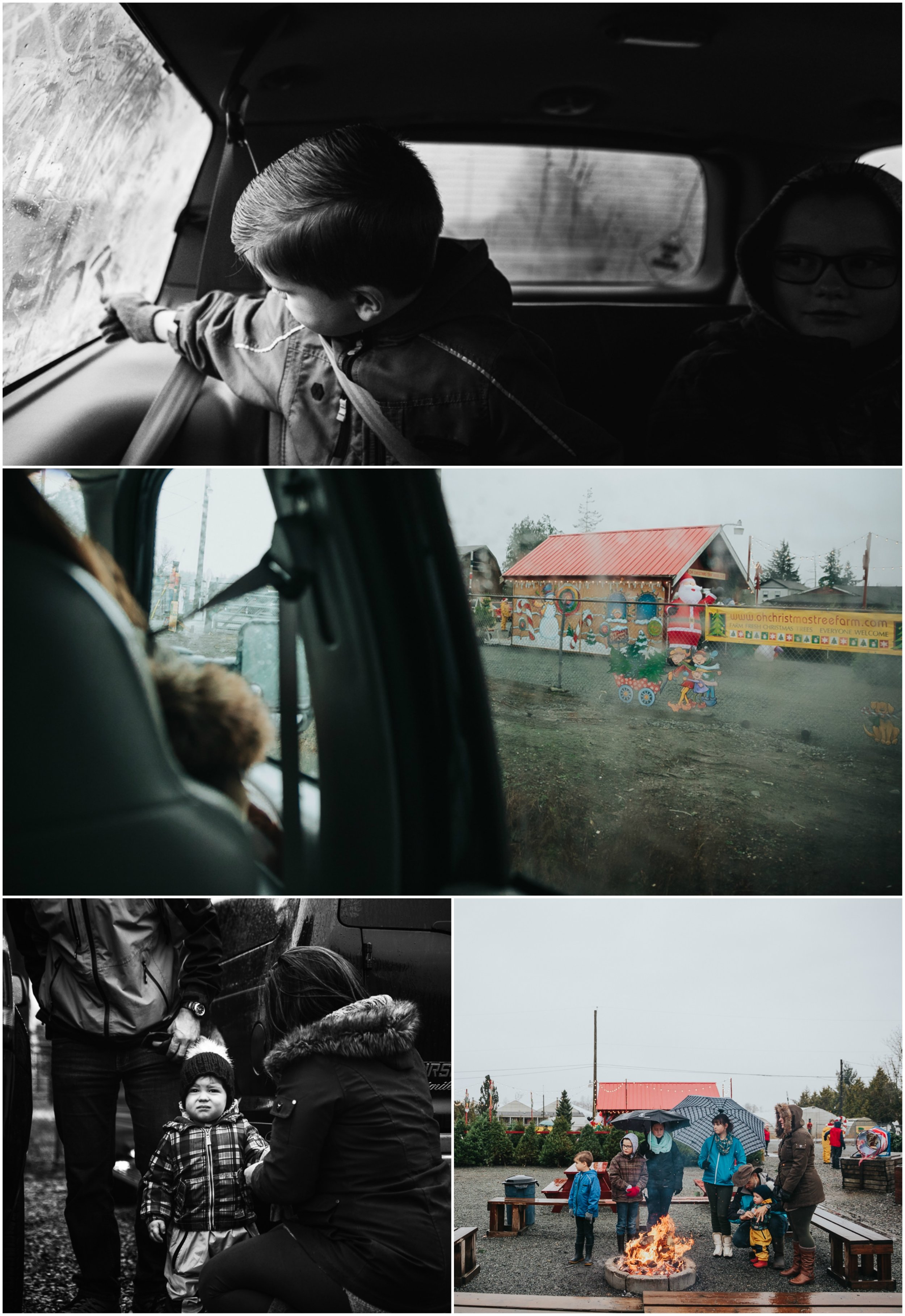 Driving to the farm, Dealing with the rain and the roaring fire at Oh Christmas Tree Farms  Christmas Tree Hunt Tradition at Oh Christmas Tree Farms in Langley, BC. Documentary Family Holiday Tradition, Real life moments with a family of 7 by Mimsical Photography. West Coast photographer in Lower Mainland, British Columbia.