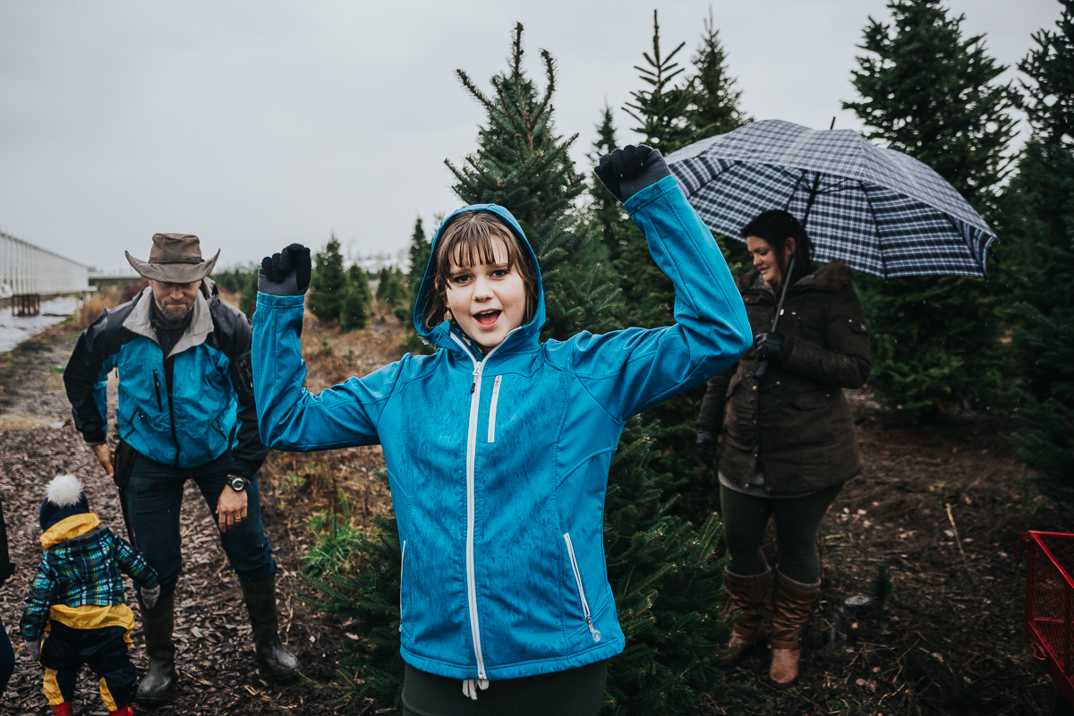 Found the tree! Christmas Tree Hunt Tradition at Oh Christmas Tree Farms in Langley, BC. Documentary Family Holiday Tradition, Real life moments with a family of 7 by Mimsical Photography. West Coast photographer in Lower Mainland, British Columbia