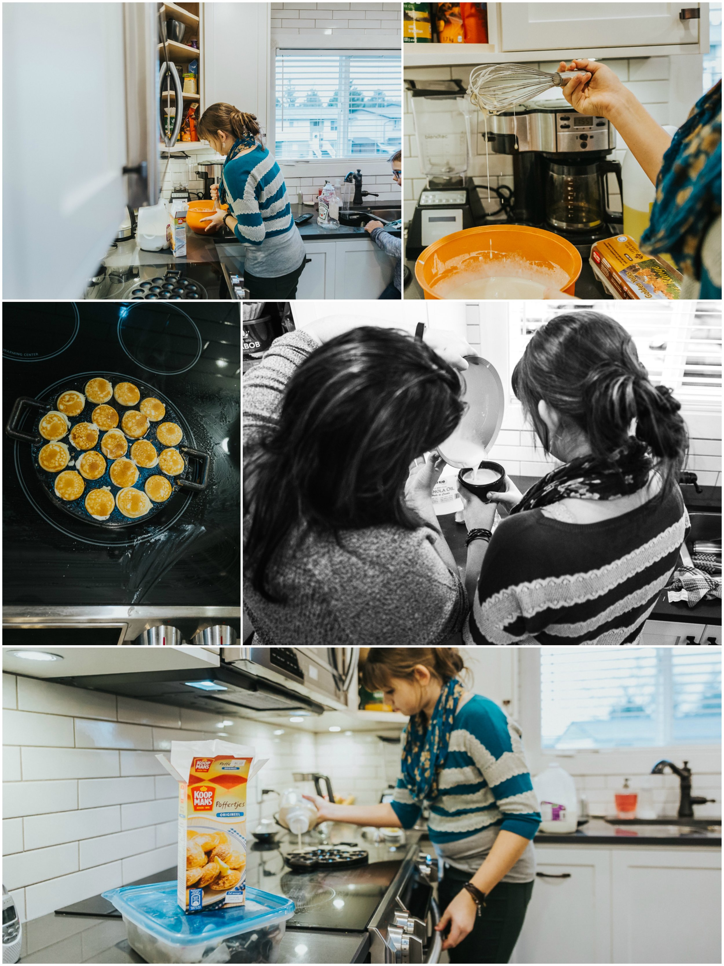 The creation of Poffertjes, a dutch treat this family has on tree decorating days!  In home tree decorating traditions,  Documentary Family Holiday Tradition, Real life moments with a family of 7 by Mimsical Photography. West Coast photographer in Lower Mainland, British Columbia