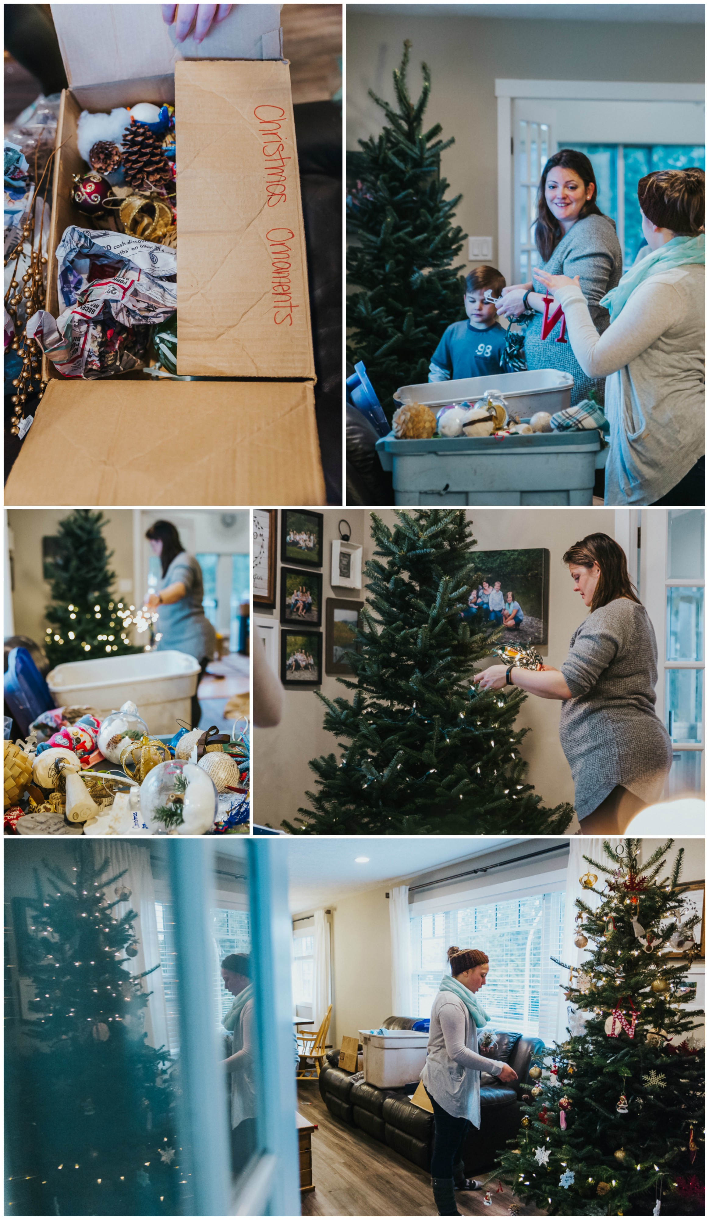 Decorating the christmas tree with love - full of oraments that each have their own story.  In home tree decorating traditions,  Documentary Family Holiday Tradition, Real life moments with a family of 7 by Mimsical Photography. West Coast photographer in Lower Mainland, British Columbia