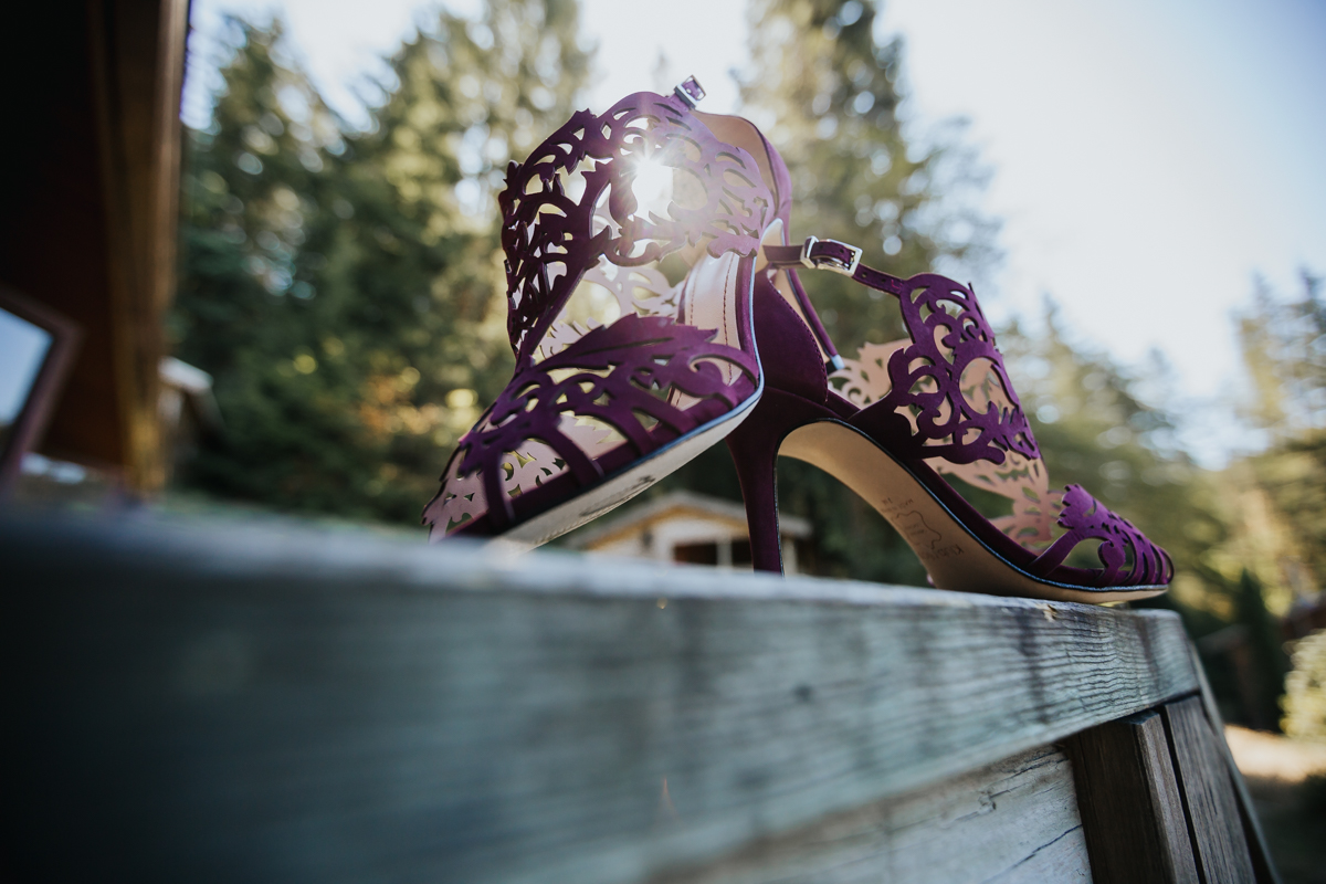 Purple/burgundy  laser cut-out wedding shoes Klub Nico  3 Laser cut out sandle high heels   Mimsical Photography Documentary Wedding Photography, Camp Howdy, Belcarra Provincial Park, North Vancouver. Purple and Grey Wedding Colours, Natural Greenery, Rustic Details, Summer, Lace and chiffon, big wedding, greek, lower mainland, british columbia, real, genuine, candid