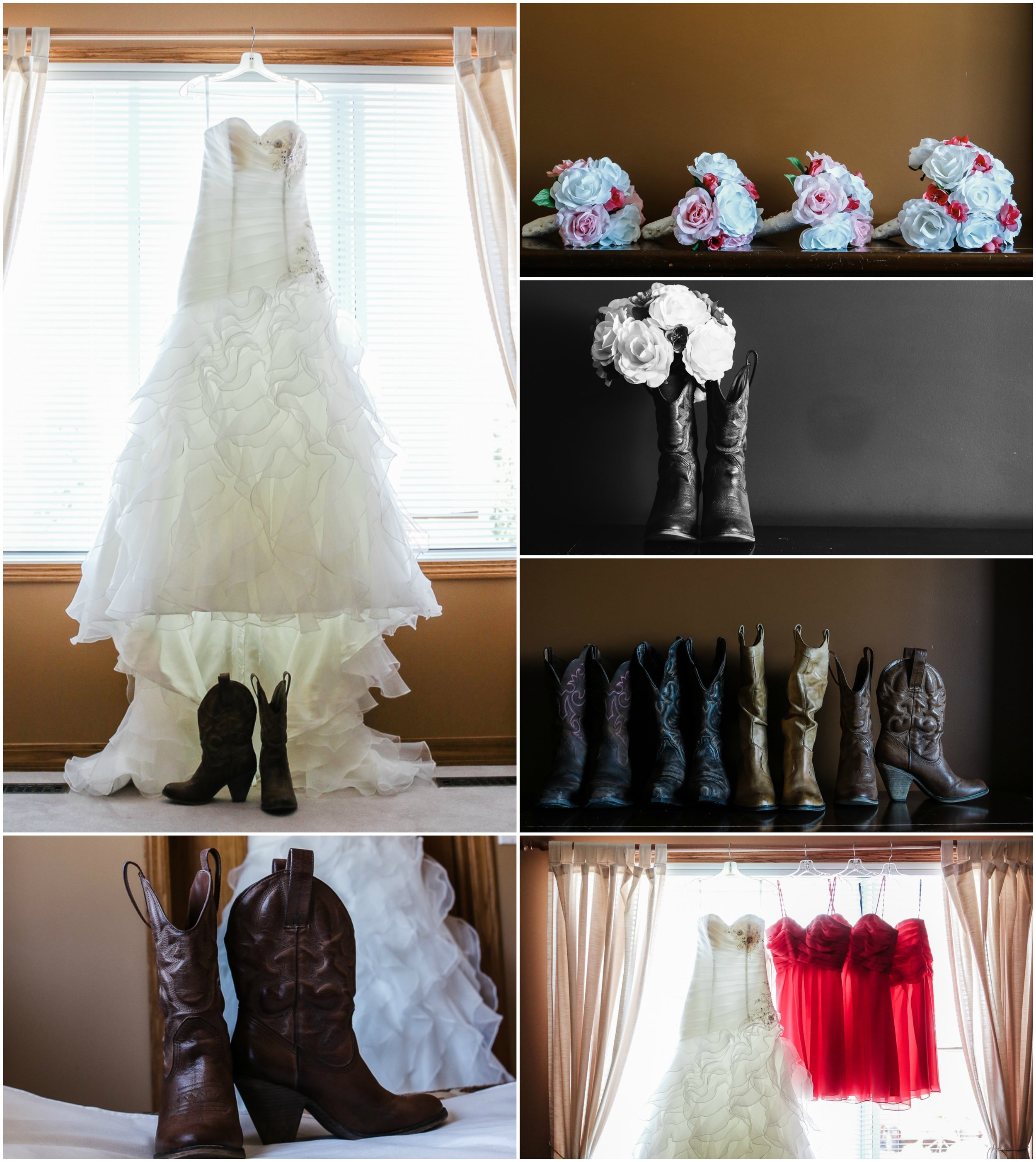 Cowboy Country Wedding Photography brown boots and hot pink dresses bridal details princess ballgown