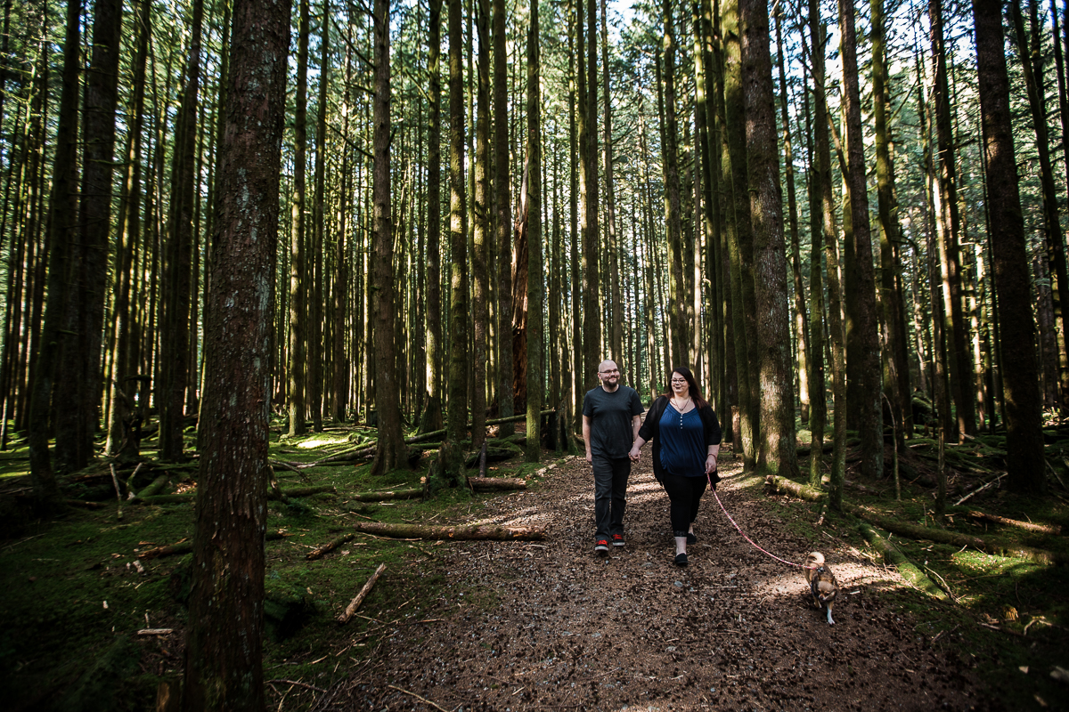Man walking holding his fiance's hand while walking a small chihuahua down forest trail during spring engagement photography at  Spirea Nature Trail in Golden Ears Provincial Park in British Columbia by Mimsical Photography