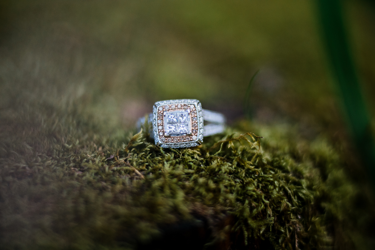 Engagement ring on moss square setting double band diamonds for days during spring engagement photography at  Alouette Lake in  Golden Ears Provincial Park in British Columbia by Mimsical Photography