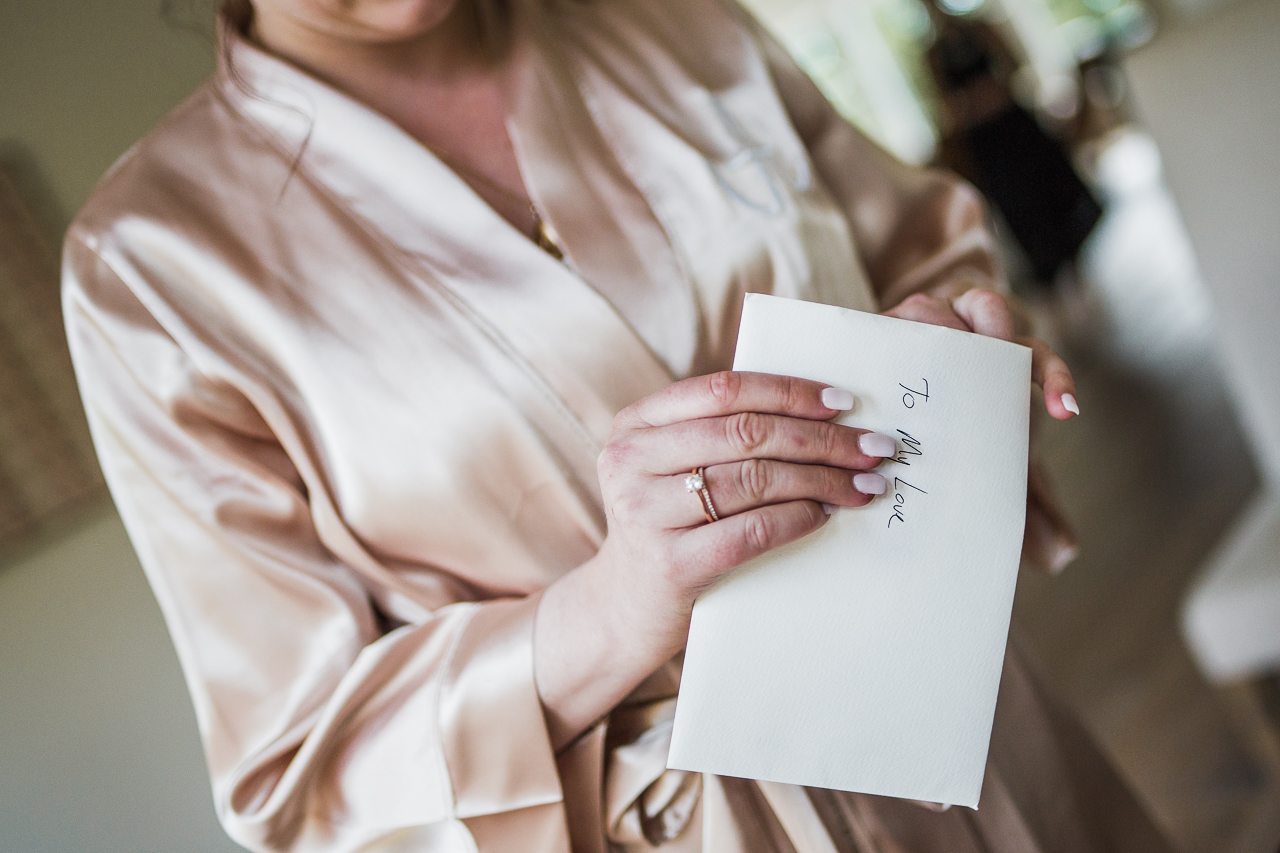 card for bride to be before outdoor summer wedding at Kwomais Point Park in Ocean Park Surrey British Columbia by Mimsical Photography who is a wedding photographer from Langley, BC that has a candid and documentary fun style.