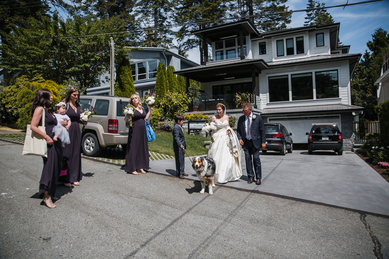 Bride and bridal party and australian shepherd dog standing outside family home before outdoor summer wedding at Kwomais Point Park in Ocean Park Surrey British Columbia by Mimsical Photography who is a wedding photographer from Langley, BC that has a candid and documentary fun style.