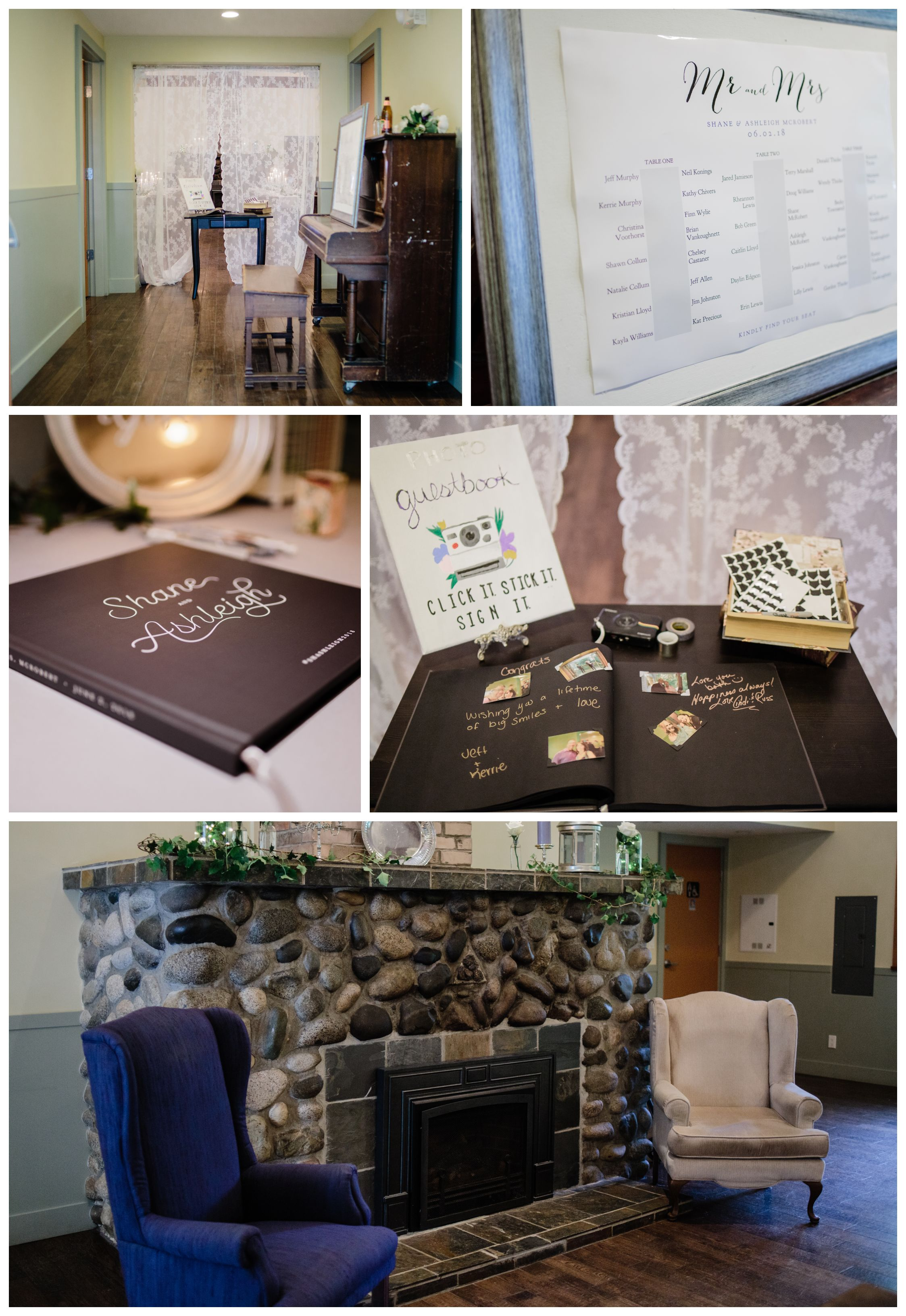 wedding details fire place and guest book before wedding reception at Kwomais Hall by Kwomais Point Park in Ocean Park Surrey by best wedding photographer from Langley Mimsical Photography Christina Voorhorst style is documentary candid and fun photos