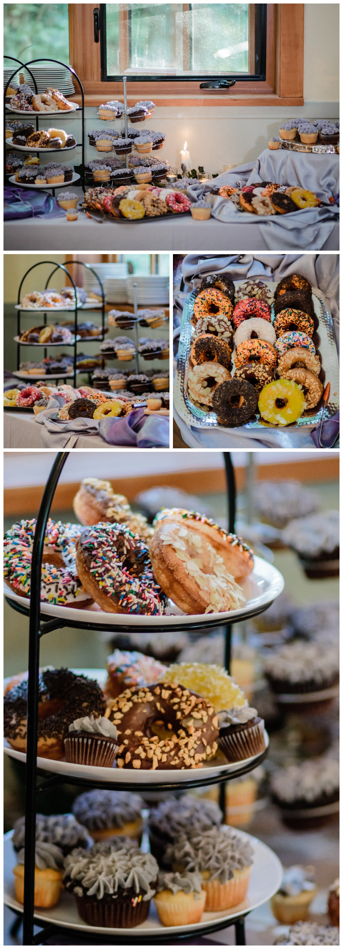 donut dessert bar at rustic wedding before wedding reception at Kwomais Hall by Kwomais Point Park in Ocean Park Surrey british columbia by best wedding photographer from Langley Mimsical Photography Christina Voorhorst style is documentary candid and fun photos