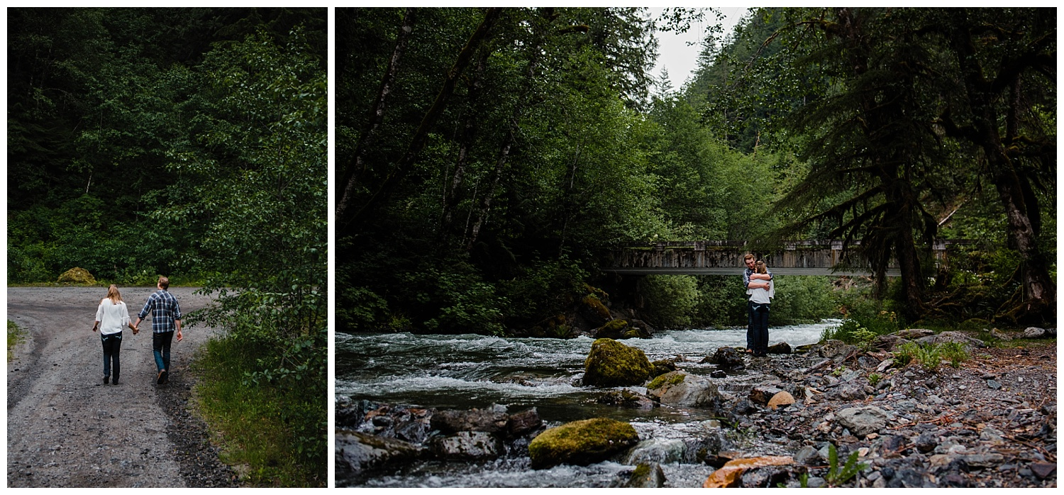 Couple walking along road and standing by Folley Creek in Chilliwack British Columbia during outdoor engagement photography session in the mountains with Mimsical Photography.  Outdoor adventure photographer based in Langley, British Columbia. Real fun engagement photos for outdoor enthusiasts in the lower mainland