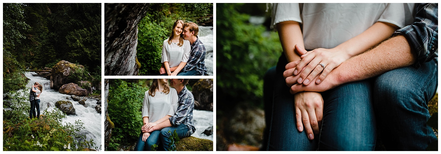 Collage of couple standing and sitting together in romantic pose to show off ring by Baby Munday Falls Pictures  by   Folley Creek near Folley Lake along Folley Service Road in Chilliwack British Columbia during outdoor engagement photography session in the mountains with Mimsical Photography.    Outdoor adventure photographer based in Langley, British Columbia. Real fun engagement photos for outdoor enthusiasts in the lower mainland. romantic pictures of couple