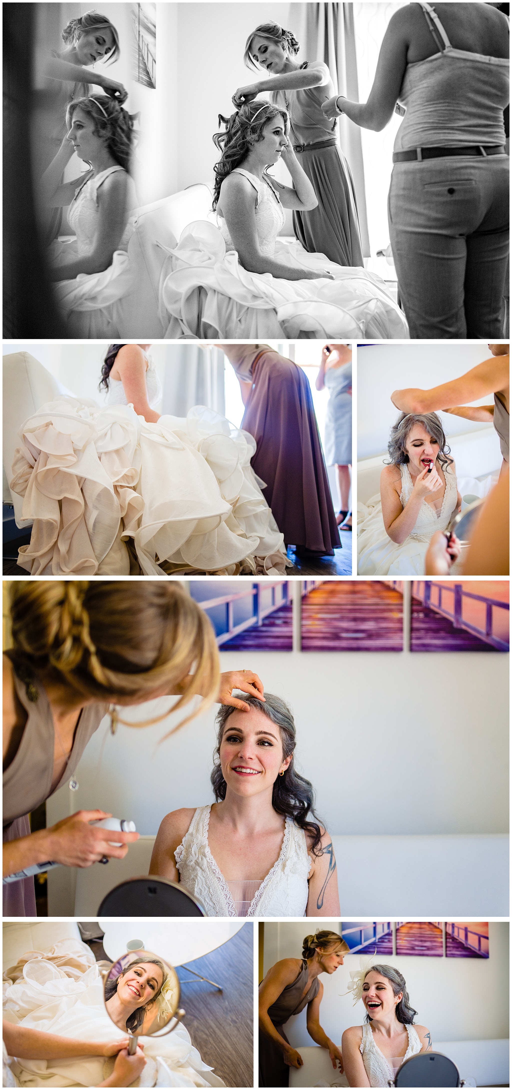 Bride getting ready before Cuckoo Trattoria and Pizzeria Wedding Photographer Vancouver Island Coombs, BC Goats on the Roof Market. Eclectic Formal quirky DIY artistic wedding full of handmade details and laughter. #fun #candid #storytelling #storytellingphotographer #bride #groom #weddinginspo #realwedding #horns #handmade #DIYwedding #DIYinspo #handmaderings #nobouquet #outdoor #pizzeria