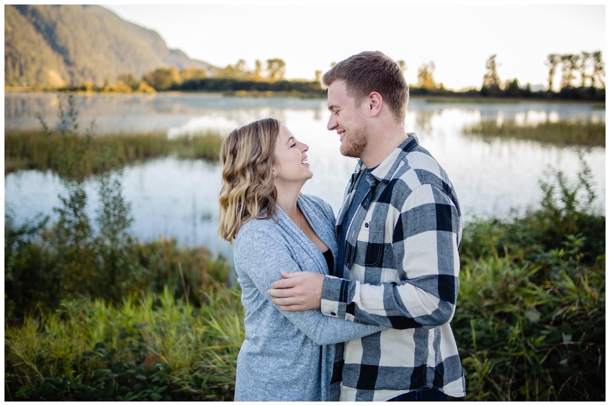 Pitt Lake Pitt Meadows Engagement Photographer Romantic Couple Mountains Lake Black Jean Sunset Flash Fall Fun Photos_0090.jpg