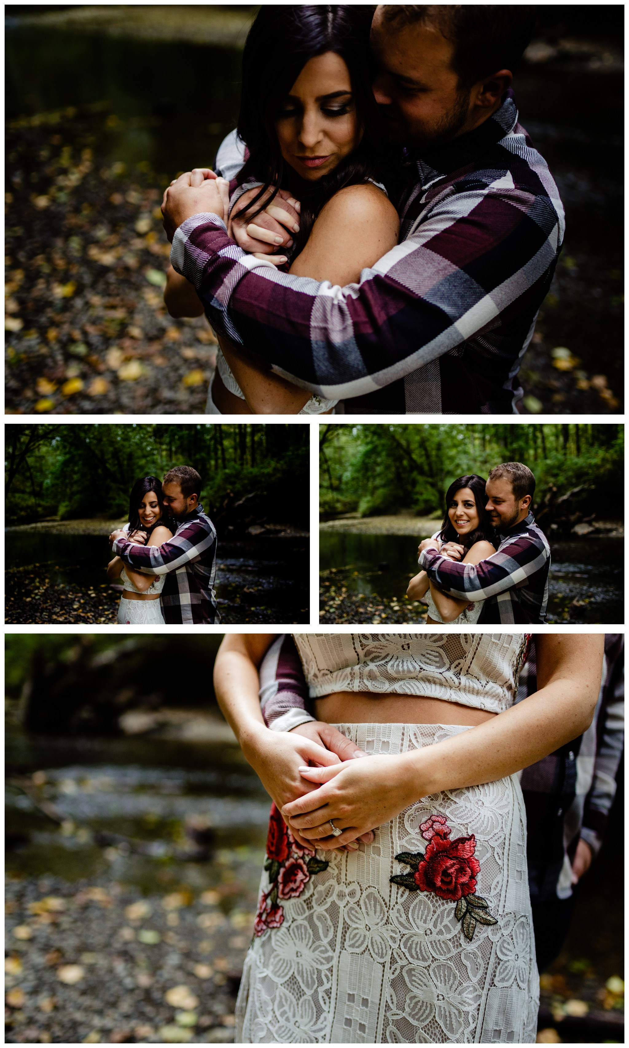 Williams Park Aldergrove Engagement Photographer Moody Fall Couple River Water Romantic Pose Yellow Leaves White Dress Dark_0002.jpg
