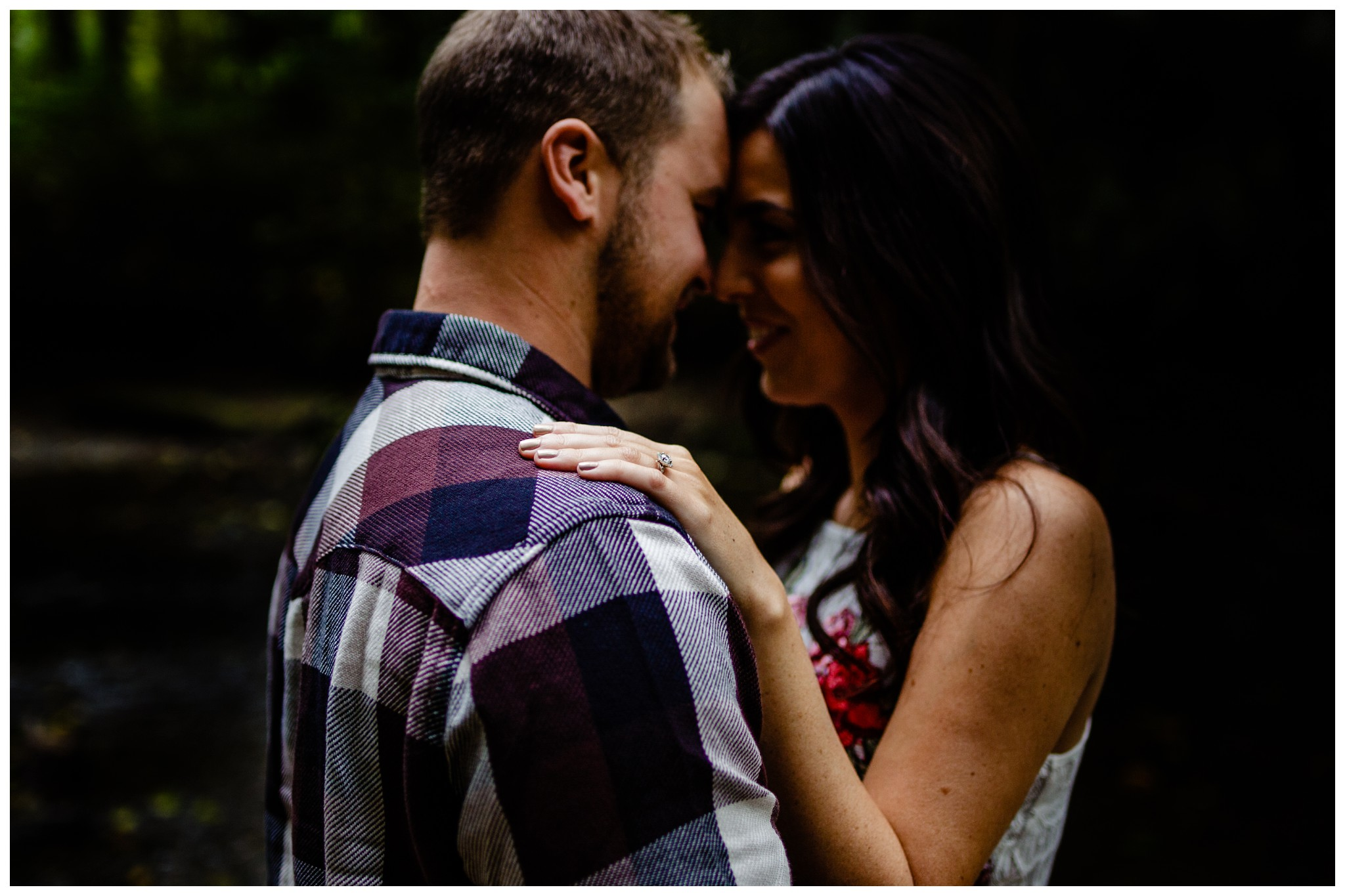 Williams Park Aldergrove Engagement Photographer Moody Fall Couple River Water Romantic Pose Yellow Leaves White Dress Dark_0003.jpg
