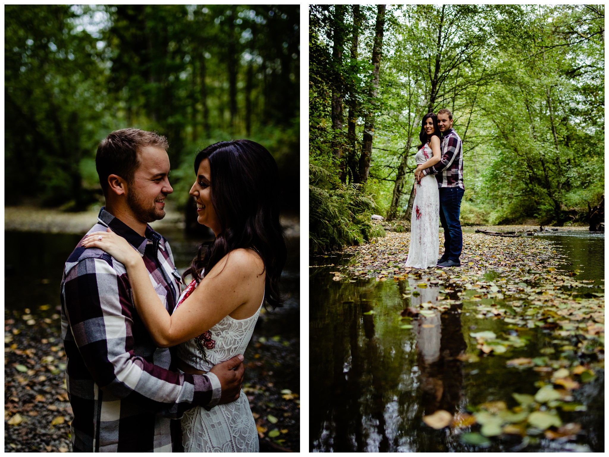 Williams Park Aldergrove Engagement Photographer Moody Fall Couple River Water Romantic Pose Yellow Leaves White Dress Dark_0005.jpg